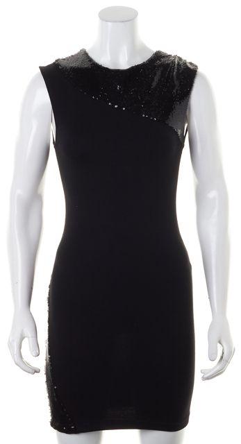 ALICE + OLIVIA Black Sequin Embellished Sleeveless Bodycon Dress