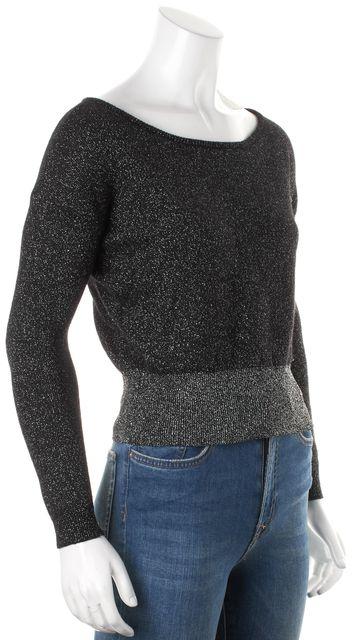 ALICE + OLIVIA Black Metallic Silver Wool Long Sleeve Wide Neck Sweater