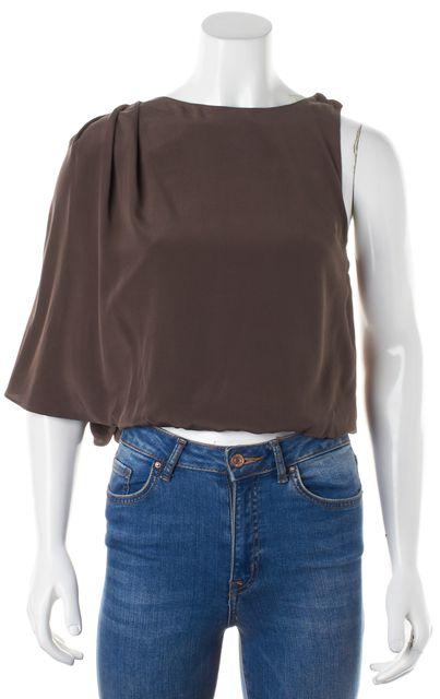 ALICE + OLIVIA Taupe Brown Silk Juniper One Shoulder Blouse Top