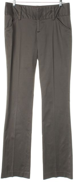 ALICE + OLIVIA Gray Flared Pleated Trouser Dress Pants