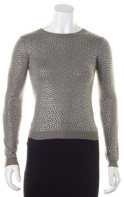 ALICE + OLIVIA Gray Jewel Embellished Crewneck Sweater