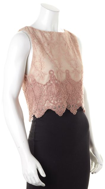 ALICE + OLIVIA Beige Pink Floral Lace Sleeveless Crop Top