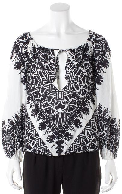 ALICE + OLIVIA Black White Floral Printed Long Sleeve Peasant Blouse Top