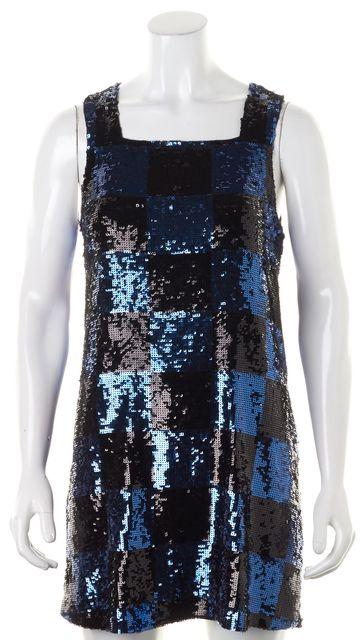 ALICE + OLIVIA Blue Black Check Sequin Embellished Sleeveless Shift Dress