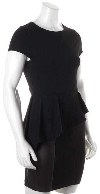 ALICE + OLIVIA Black Leather Trim Cap Sleeve Peplum Sheath Dress