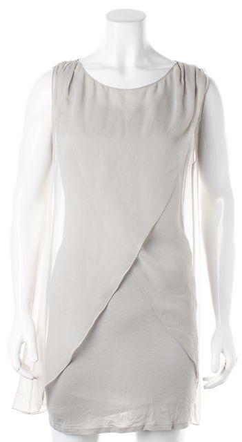 ALICE + OLIVIA Gray Jersey Silk Layered Sleeveless Mini Sheath Dress