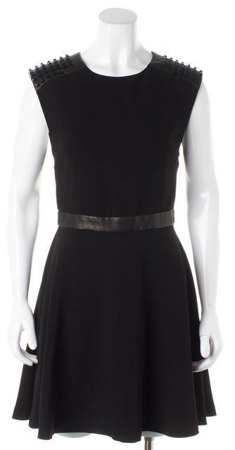 ALICE + OLIVIA Black Leather Trim Shoulder Studded Fit & Flare Dress