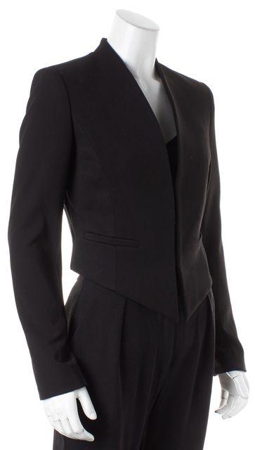 ALICE + OLIVIA Black Hook-And-Eye Closure Cropped Blazer Jacket