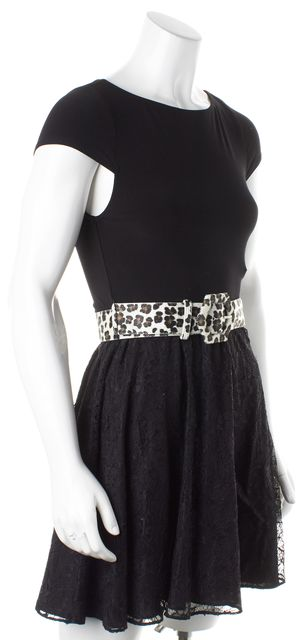 ALICE + OLIVIA Black Lace Leopard Printed Belt Fit & Flare Dress