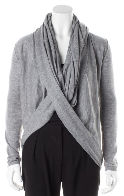 ALICE + OLIVIA Gray Wool Cashmere Knit Long Sleeve Wrap Cardigan
