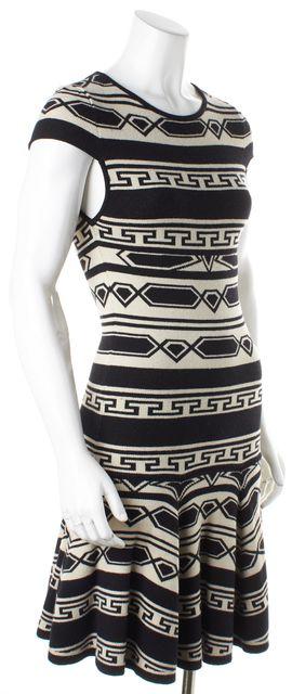 ALICE + OLIVIA Black Ivory Striped Geometric Sweater Sheath Dress