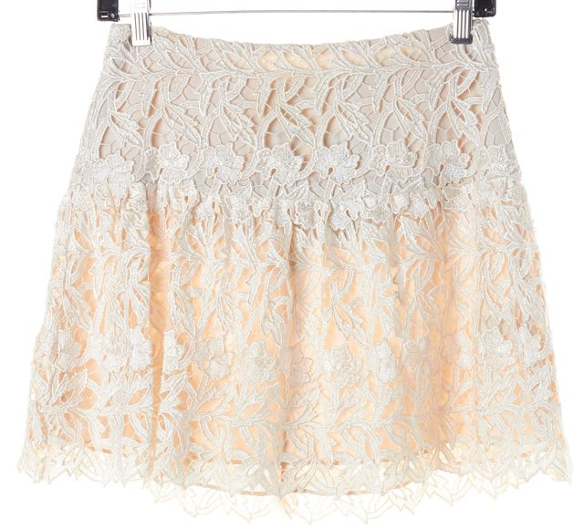 ALICE + OLIVIA Ivory Beige Floral Lace Embroidered A-Line Mini Skirt