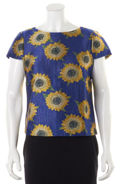ALICE + OLIVIA Blue Yellow Floral Short Sleeve Back Zip Blouse Top
