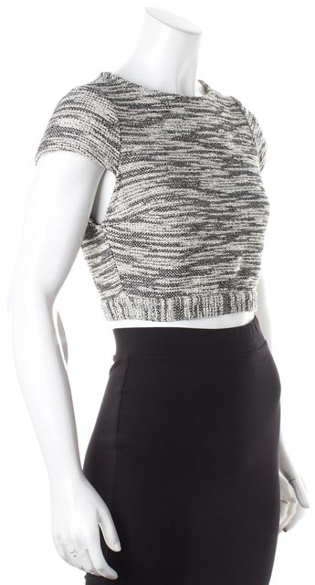 ALICE + OLIVIA Black White Cotton Tweed Mesh Back Panel Crop Top