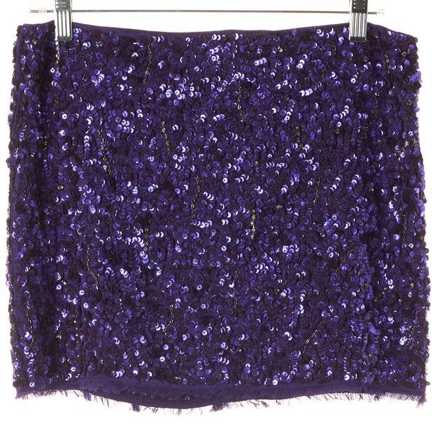 ALICE + OLIVIA Purple Sequin Jewel Embellished Silk Mini Skirt