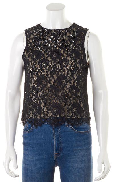 ALICE + OLIVIA Black Jewel Embellished Lace Overlay Sleeveless Blouse