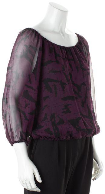 ALICE + OLIVIA Purple Black Printed Silk Long Sheer Sleeves Blouse Top