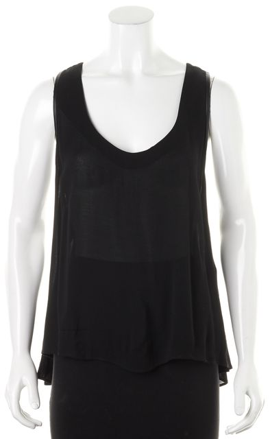 ALICE + OLIVIA Black Leather Trim Sleeveless Racerback Tank Blouse