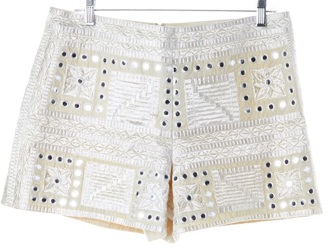 ALICE + OLIVIA Ivory Geometric Embroidered Casual Shorts