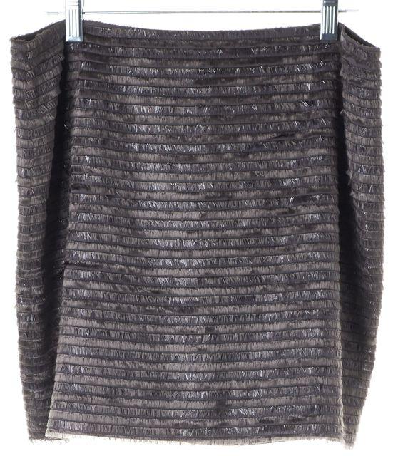 ALICE + OLIVIA Metallic Gray Fringe Trim Mini Straight Skirt