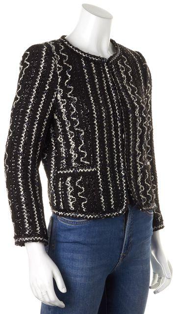 ALICE + OLIVIA Metallic Black White Tweed Hook-And-Eye Closure Jacket
