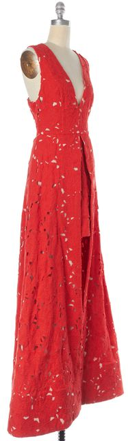 ALICE + OLIVIA Red Beige Floral Lace Overlay High Low Dress