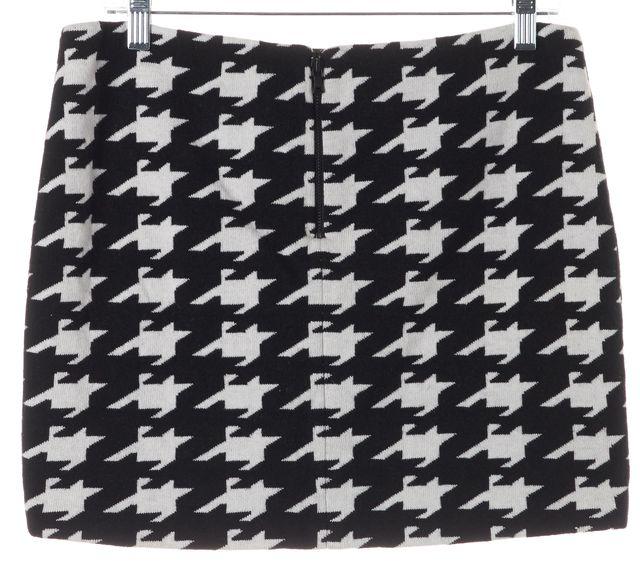 ALICE + OLIVIA Black White Houndstooth Print Mini Skirt