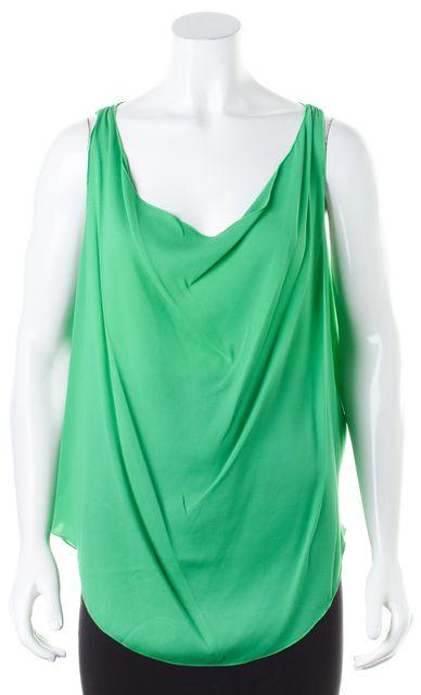 ALICE + OLIVIA Green Silk Draped Sleeveless Blouse