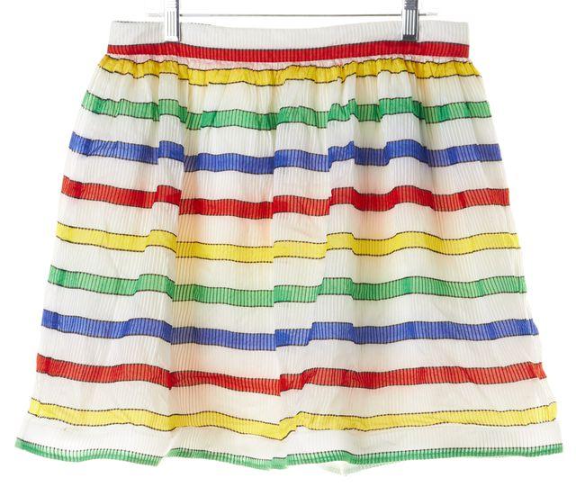 ALICE + OLIVIA White Multi Striped Pleated Full Skirt