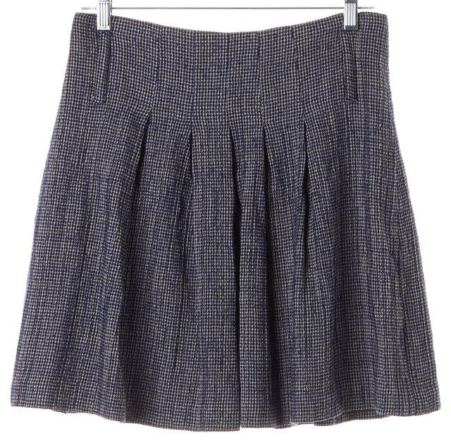 ALICE + OLIVIA Navy Blue Mini Houndstooth Wool Linen Pleated Skirt