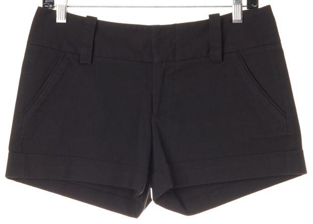 ALICE + OLIVIA Black Stretch Cotton Cuffed Dress Shorts