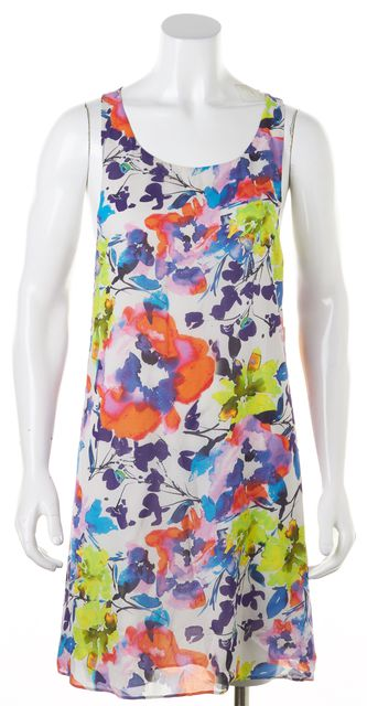 ALICE + OLIVIA White Purple Orange Abstract Silk Shift Dress