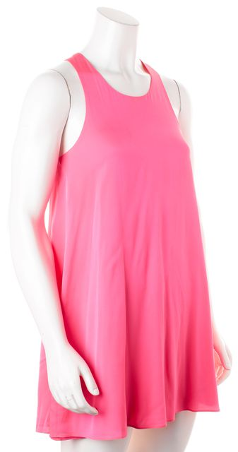 ALICE + OLIVIA Pink Silk Sleeveless Racerback Shift Mini Dress
