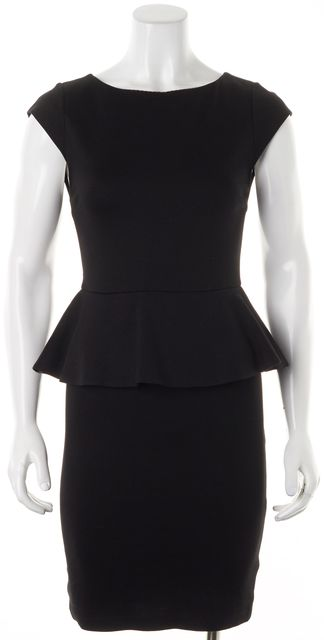 ALICE + OLIVIA Black Stretch Ponte Cap Sleeve Peplum Sheath Dress