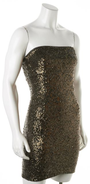 ALICE + OLIVIA Bronze Nicolette Sequin Tube Dress