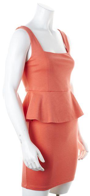 ALICE + OLIVIA Coral Pink Sleeveless Above Knee Peplum Dress
