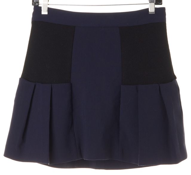 ALICE + OLIVIA Navy Blue Black Pleated Above Knee A-Line Skirt