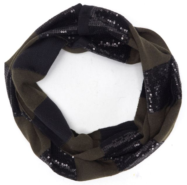 ALICE + OLIVIA Olive Green Black Striped Wool Knit Snap Button Infinity Scarf