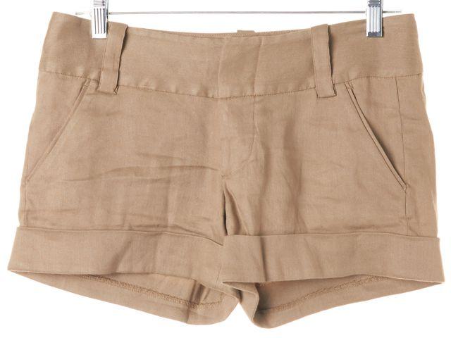 ALICE + OLIVIA Light Camel Brown Linen Cuffed Dress Shorts