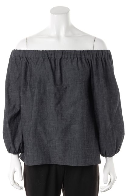 ALICE + OLIVIA Blue Dark Chambray Off Shoulder Blouse