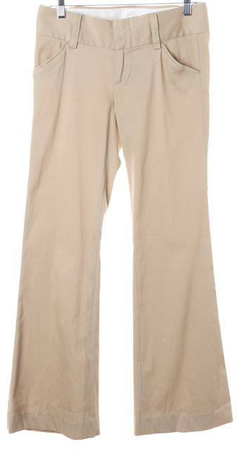 ALICE + OLIVIA Beige Straight Leg Trouser Dress Pants