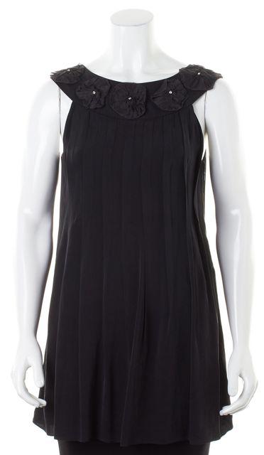 ALICE + OLIVIA Black Organza Floral & Crystal Embellished Silk Blouse