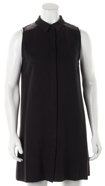ALICE + OLIVIA Black Sheer Lace Back Sleeveless Shirt Mini Dress