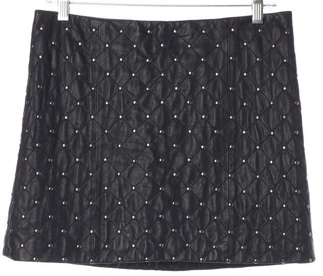 ALICE + OLIVIA Black Stud Embellished Quilted Leather Mini Skirt