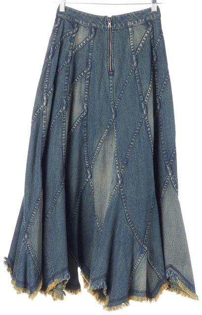ALICE + OLIVIA Blue Patchwork Denim Asymmetric Frayed Hem Skirt