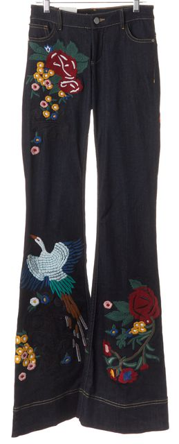 ALICE + OLIVIA Blue Embroidered Ryley Low Rise Bell Flare Jeans