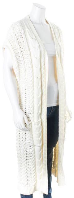ALICE + OLIVIA Ivory Cap Sleeve Chunky Long Open Cardigan