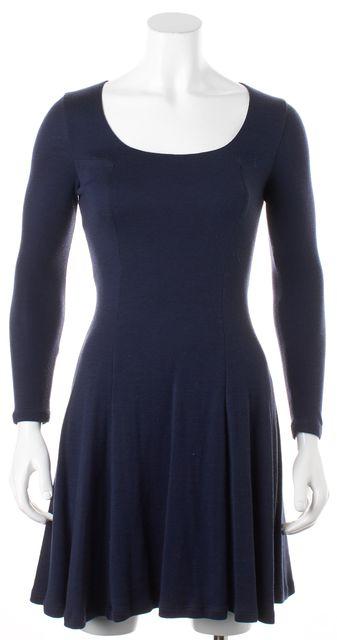 ALICE + OLIVIA Navy Blue Black Lace Trim Wool Stretch Dress