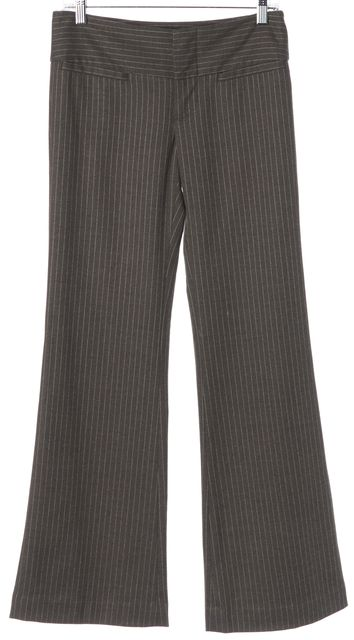 ALICE + OLIVIA Gray Pinstriped Wool Flare Trouser Dress Pants