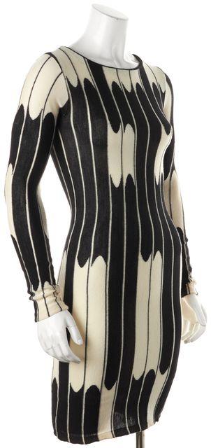 ALICE + OLIVIA Black White Geometric Wool Knit Sheath Dress